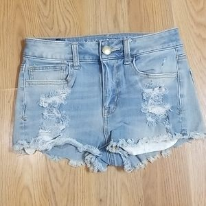 Amy Eagle hi rise super shorty distressed shorts